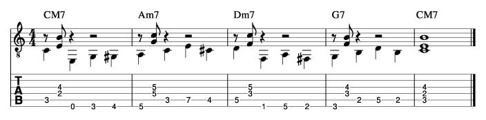 ウォーキングベースラインに和音を付けた例6_楽譜