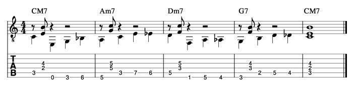 ウォーキングベースラインに和音を付けた例7_楽譜