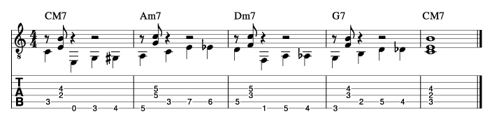 ウォーキングベースラインに和音を付けた例8_楽譜