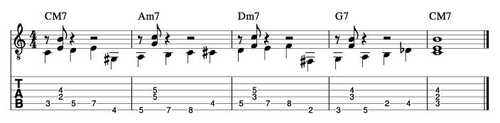 ウォーキングベースラインに和音を付けた例9_楽譜