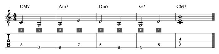 ウォーキングベースライン例1_楽譜