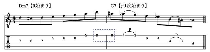 サブドミナントフレーズとドミナントフレーズを繋げた例1