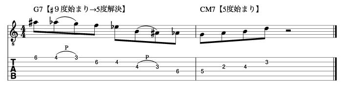 ドミナントフレーズが5度に解決した例_楽譜