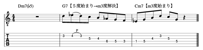 マイナーツーファイブフレーズ手順2_楽譜