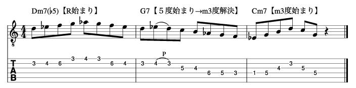 マイナーツーファイブフレーズ手順3_楽譜
