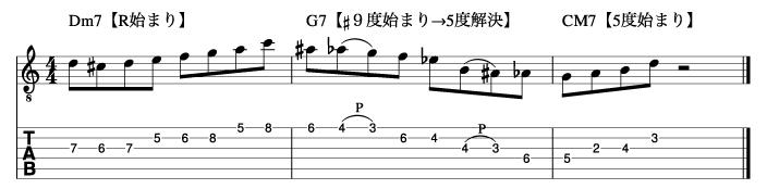 メジャーツーファイブワンフレーズ手順3_楽譜