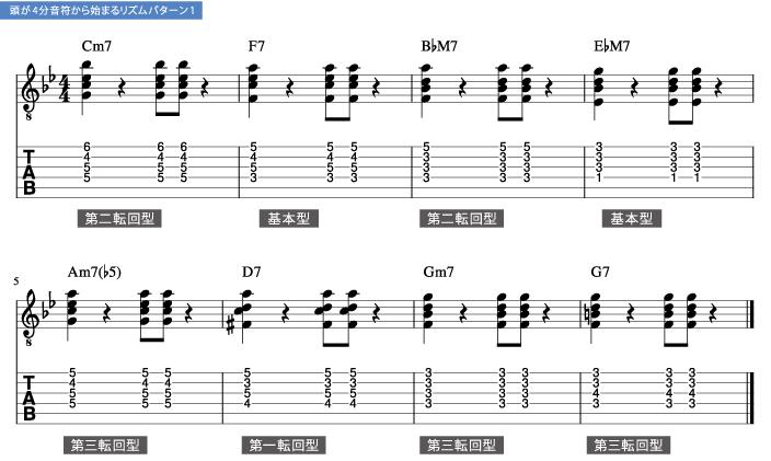 ヴォイスリーディングを意識したドロップ2バッキング枯葉2_楽譜