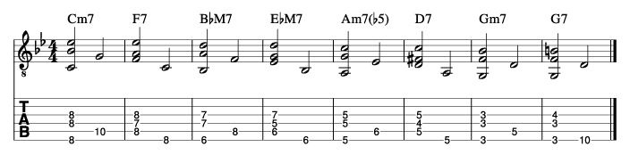 枯葉のウォーキングベースラインに和音を付けた例1_楽譜