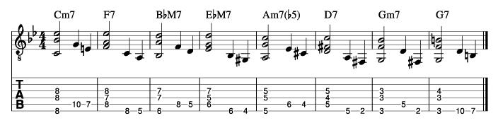 枯葉のウォーキングベースラインに和音を付けた例2_楽譜