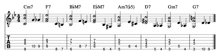 枯葉のウォーキングベースラインに和音を付けた例3_楽譜