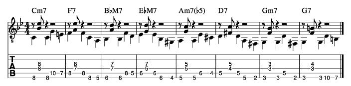 枯葉のウォーキングベースラインに和音を付けた例4_楽譜