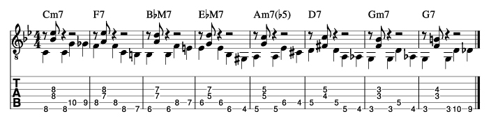 枯葉のウォーキングベースラインに和音を付けた例5_楽譜