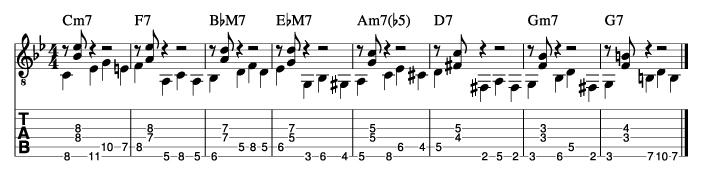 枯葉のウォーキングベースラインに和音を付けた例6_楽譜