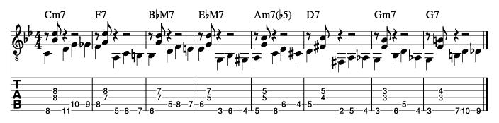 枯葉のウォーキングベースラインに和音を付けた例7_楽譜