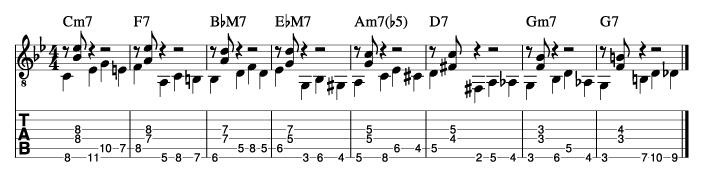 枯葉のウォーキングベースラインに和音を付けた例8_楽譜