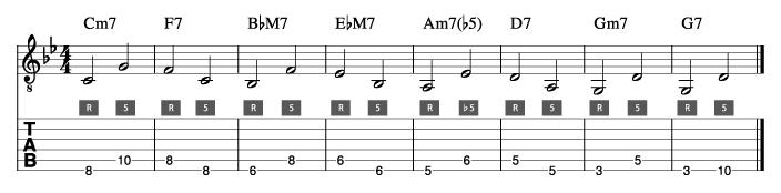 枯葉コード進行_ウォーキングベースライン例1_楽譜