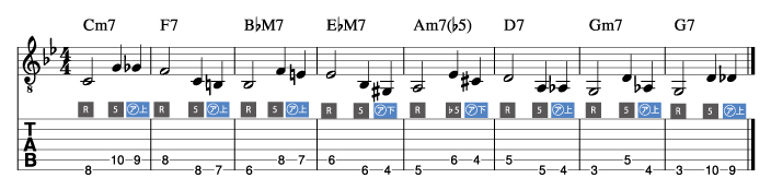 枯葉コード進行_ウォーキングベースライン例3_楽譜