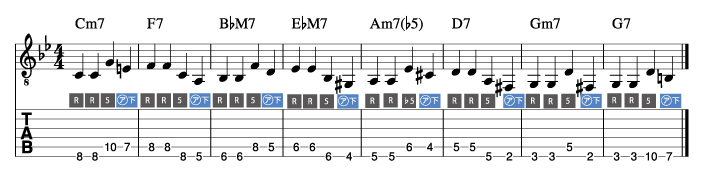 枯葉コード進行_ウォーキングベースライン例4_楽譜