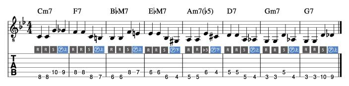 枯葉コード進行_ウォーキングベースライン例5_楽譜