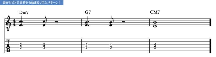 頭が付点4分音符から始まるリズムパターン1