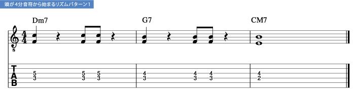 頭が4分音符から始まるリズムパターン1