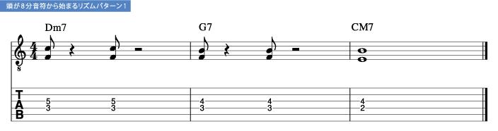頭が8分音符から始まるリズムパターン1