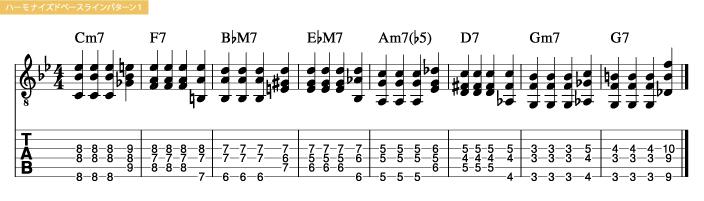 枯葉コード進行_ハーモナイズドベースラインパターン1_楽譜