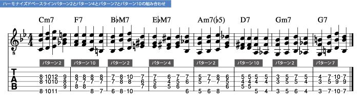 枯葉コード進行_ハーモナイズドベースラインパターン2とパターン4とパターン7とパターン10の組み合わせ_楽譜