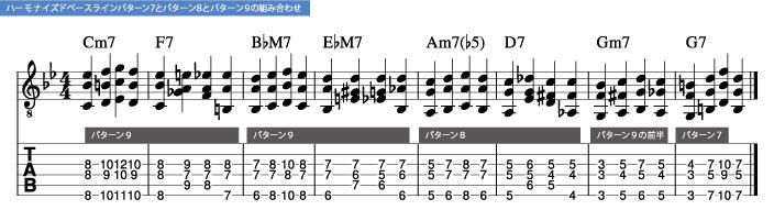 枯葉コード進行_ハーモナイズドベースラインパターン7とパターン8とパターン9の組み合わせ_楽譜