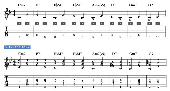 枯葉コード進行_ハーモナイズドベースライン例1_楽譜